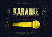 Karaoke Typographic Stencil Spray Grunge Style Poster Design. Retro Vector Illustration. poster