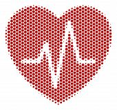 Halftone Hexagon Cardiology Icon. Pictogram On A White Background. Vector Collage Of Cardiology Icon poster