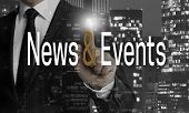 News And Events Concept Is Shown By Businessman. poster