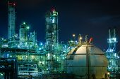 Gas Storage Sphere Tank In Gas And Oil Refinery Plant With Night, Close Up Of Petrochemical Plant, G poster