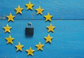 European Union Sign With A Padlock On A Blue Rustic Wooden Background, Dsgvo Concept Image poster