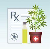 Marijuana Plant And Cannabis Oil. Hemp Oil In A Glass Jar. Cbd Oil Hemp Products. Oil Bottle Mock Up poster