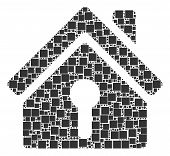 Home Keyhole Collage Icon Of Square Figures And Spheric Dots In Variable Sizes. Vector Objects Are F poster