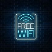 Neon Sign Of Free Wifi Zone In Rectangle Frame On Dark Brick Wall Background. Wireless Connection Fr poster