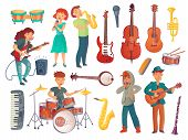 Постер, плакат: Cartoon Young Female And Male Singers With Microphones And Musician Characters With Music Instrument