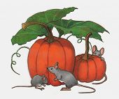 Mice Playing in Pumpkin Patch: Color Pencil Art