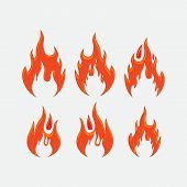 Red Fire Flames Symbols, Icons Vector Set. Fire Power Tattoo And Hot Flame Fire For Brand Or Logo Il poster
