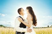 image of fiance  - Wedding couple bride and groom in nature - JPG