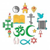 Religion Icons Set. Cartoon Illustration Of 16 Religion Vector Icons For Web poster