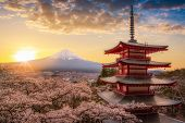 Mount Fujisan Beautiful Landscapes On Sunrise. Fujiyoshida, Japan At Chureito Pagoda And Mt. Fuji In poster