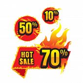 The Set Of Hot Sale Burning Labels Discount 10%. 50%. 70% And Tags For Hot Sale. Banner. Marketing.  poster