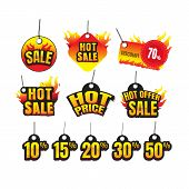 The Set Of Hot Sale. Hot Price. Hot Offer Burning Labels Discount 10%. 15%. 20%. 30%. 50%. 70% And T poster