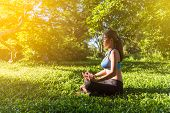 Yoga In The Park, Outdoor With Effect Light, Health Woman, Yoga Woman. Yoga Lifestyle Wellness Healt poster