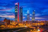Madrid, Spain Financial District Skyline At Twilight In Madrid City. poster