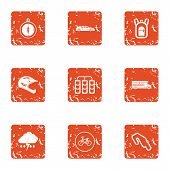 Automobile Race Icons Set. Grunge Set Of 9 Automobile Race Vector Icons For Web Isolated On White Ba poster