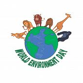 World Environment Day 5th June. Sketch Of Mother Earth Globe And Stylish Text World Environment Day poster