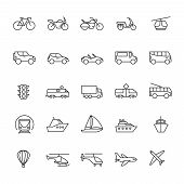 Public Passenger Transport Line Icons. Cars And Vehicles Set. Transportation And Shipping Outline Sy poster