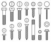 Industrial Screws Bolts, Nuts And Nails Line Vector Icons. Bolt With Screw, Nut For Fix Work Illustr poster
