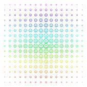 Glad Smiley Icon Rainbow Colored Halftone Pattern. Vector Glad Smiley Pictograms Organized Into Half poster
