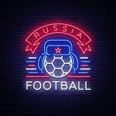 Soccer Championship Logo Neon Vector. Soccer Neon Sign, European Football Cup 2018, Light Banner, De poster