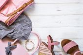 Woman Clothes And Accessories In Pink And Gray Colors - Top, Pants, Sandals And Bag On White Backgro poster