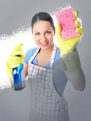 Smiling housewife cleaner woman  washing a window