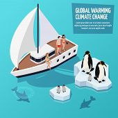 Climate Change Isometric Composition With People On Sailboat, Dolphins Underwater And Penguins On Me poster