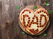 Pepperoni Pizza In Heart Shape And Dad Word poster