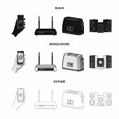 Home Appliances And Equipment Black, Monochrome, Outline Icons In Set Collection For Design.modern H poster