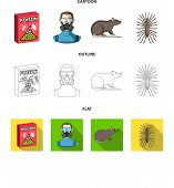 Staff, Packing With Poison And Pests Cartoon, Outline, Flat Icons In Set Collection For Design.pest  poster