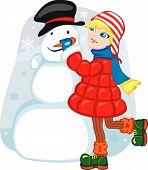 Girl Making Snowman