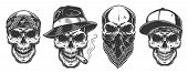 Skulls In Monochrome Vintage Style, Gangsters And Mafia Set. Vector Illustration. poster