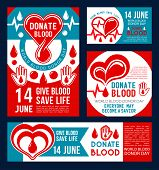 Donate Blood Banner Set For Transfusion Medical Center Template. Drop Of Donation Blood With Red Hea poster