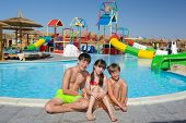 stock photo of inflatable slide  - 	Children playing in pool - JPG