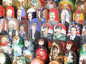 Political Russian Dolls At A Market In Moscow, Russia