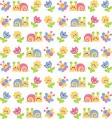 background with snails, butterflies and flowers