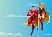 Full Length Illustration Of Happy Super Dad And Super Mom With Super Baby, Flying In The Sky. poster