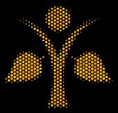 Halftone Hexagonal Ecology Man Icon. Bright Yellow Pictogram With Honey Comb Geometric Pattern On A  poster