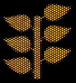 Halftone Hexagon Flora Plant Icon. Bright Golden Pictogram With Honey Comb Geometric Pattern On A Bl poster