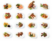 Set Of Various Restaurant Meals Isolated On White Background. Collage Of Different Main Courses, Mea poster