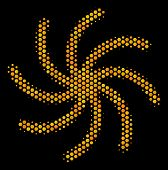 Halftone Hexagon Galaxy Icon. Bright Gold Pictogram With Honey Comb Geometric Structure On A Black B poster