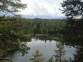 Lake Varatsky in northern Karelia from a high rock of island