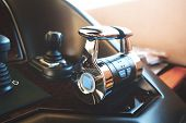 Steering Wheel On A Luxury Sea, Yacht. poster