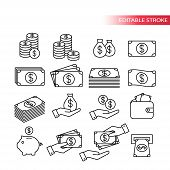 Thin Line, Fully Editable Icon Set. Money Icons. Money Stack, Coin Stack, Piggy Bank, Wallet With Mo poster