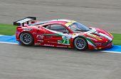 ESTORIL - SEPTEMBER 25: Ferrari 458 of the Italian team AF Corse piloted by Toni Vilander in the LMS
