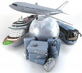 3D rendering of a world globe, an airplane, a cruise ship and a coach bus with a high key pile of lu