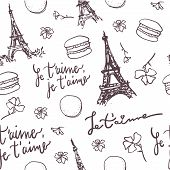 Pattern With Paris Eiffel Tower, French Quotes, Macarons And Flowers. Paris Vector Pattern. French P poster