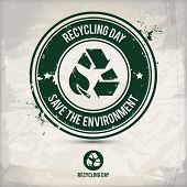 Alternative Recycling Day Stamp Containing: Two Variations Of Environmentally Sound Recycling Emblem poster