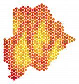 Постер, плакат: Botswana Map Vector Honeycomb Territorial Scheme In Flame Color Tints Impressive Botswana Map Comp