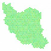Постер, плакат: Green Iran Map Vector Hex Tile Territorial Map Using Green Color Shades Abstract Iran Map Collage